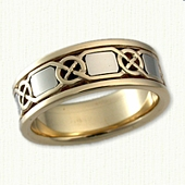14kt Two Tone Custom Celtic Knot w/Squares Band