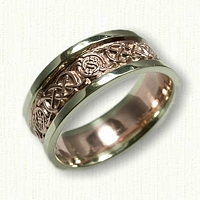 Celtic Murphy Circle Knot Wedding Band - 14kt Rose Center with 14kt Green Gold Rails
