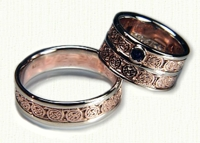 Two Tone Double Circle Knot Band - shown right. 14kt rose gold with white gold rails