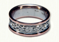 Celtic Glasgow Knot Wedding Rings with Circle Knot pattern - white gold center/rose gold rails