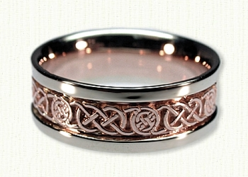 Circle Murphy Knot Wedding Band. 14kt rose center/white rails