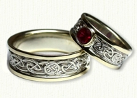 Celtic Circle Loop Knot Wedding Band with bezel set Ruby. White gold center/yellow rails