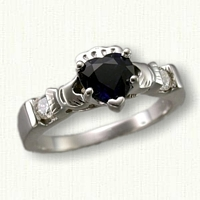 14KW Claddagh Ring with 2 Diamonds (0.14ct. total weight) and a 0.62ct. Pear Shaped Green Sapphire (6 x 4mm)