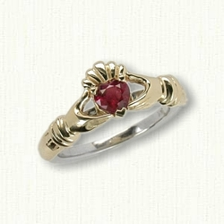 14kt Two Tone Gold Claddagh Engagement Mounting, 14kt Yellow Claddagh, Hands & Crown with 14kt White Shank Set with 0.45ct Ruby Heart