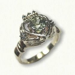 14kt Yellow Gold Custom Celtic Claddagh Engagement Ring set with a round .98ct  Genuine Green Sapphire and side/crown Alexandrites