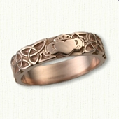 14kt Rose Gold Triangle Knot with Single Claddagh Wedding Band