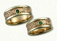 Continuous Heart Claddagh band, with  bezel set emeralds