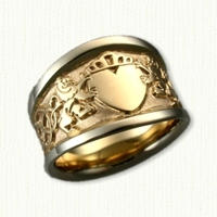 14kt Two Tone Custom Claddagh & Rampant Lion Tapered Band