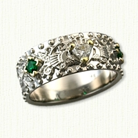 14kt White Gold Triangle Knot and Vine Custom Claddagh Band