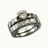 14kt White Gold Custom Claddagh & Initial Diamond Wedding Band Set