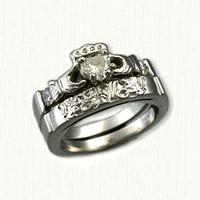 14kt White Gold Custom Claddagh & Initial Diamond Wedding Band Set