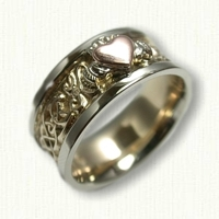 Custom Two Tone Claddagh Band with Raised rose gold heart and white gold hands and crown