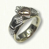 14kt Tri Color Gold Claddagh Wedding Band with 14kt Rose Gold Raised Heart