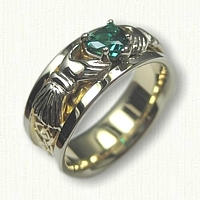 -14kt Two Tone Custom Claddagh Wedding Band- Triangle Knot Pattern on Shank set with a 6 x 6 mm Chathem Emerald