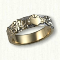 14kt Two Tone Custom Initial & Claddagh Wedding Band - straight edges