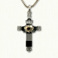Plain Straight Claddagh Cross with Raised Heart