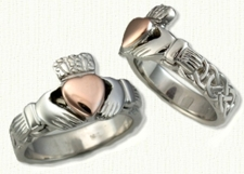 Two Tone Claddagh Knot Band with 14kt Rose Gold Raised Heart