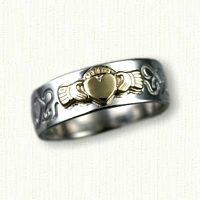 14kt White Gold Claddagh - Reverse Etch with 14kt Yellow Raised Claddagh