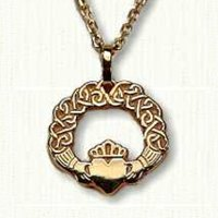 14KY Claddagh Pendant with Continuous Heart Knot Pattern