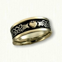 14kt Continuous Heart Knot Band with Claddagh - Black Enamel