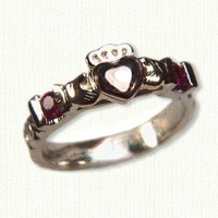 Tri-color claddagh ring with 2 -.05ct rubies