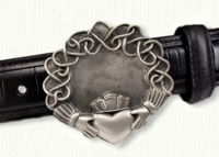 Continuous Heart Claddagh Belt Buckle
