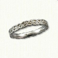 14kt White Gold Continuous Heart Knot Band Sculpted at a 3mm width