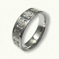 14kt White Gold Celtic Elsinore Knot Religious Wedding Band - Reverse Etch
