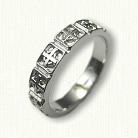 14kt White Gold Celtic Cross Wedding Band (no rails) - straight edges