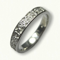 14kt White Gold Custom Celtic Knot and Cross band