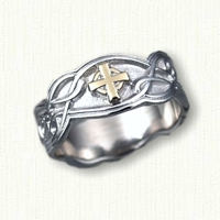 14kt White Gold Celtic Cross Sculpted Ring with Cross in 14kt Yellow Gold