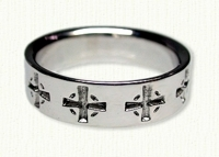 Celtic Cross Wedding Band - Reverse Etch