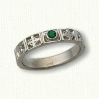 Celtic Cross Wedding Band - No Rails- set with bezel set Emerald