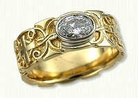14kt Yellow Gold Celtic Mohan and Cross Sculpted Wedding Band with Oval Bezel Set Diamond