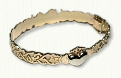 Custom Claddagh & Continuous Heart Knot Hinged Bracelet