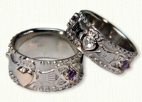 Custom Claddagh Band with Celtic Knots and Gemstones