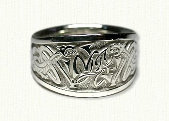 14KW Custom Monogram Signet ring with Celtic Knotwork & Dragons