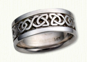 Dara Knot Wedding Bands in 14KW