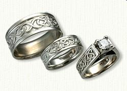 14kt White Gold Dara Knot Engagement Ring and Wedding Band Set