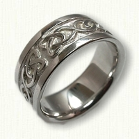 Celtic Dara Knot Wedding Band - 10 mm width - 14kt white gold