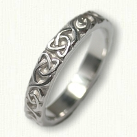 14kt White Gold Dara Knot Wedding Band - straight edges