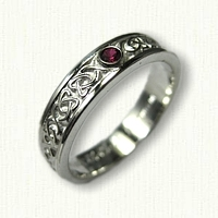 Sterling Silver Dara Knot Inner Band for Cradle with One bezel Set Ruby - narrow rails