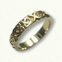 14kt Yellow Gold Celtic Dara Knot Band - sculpted