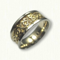 14kt Two Tone Gold Celtic Dara Knot Wedding Band