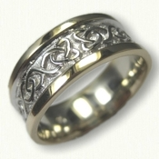 14kt Two Tone Gold Celtic Dara Knot Wedding Band - 9.0 mm width