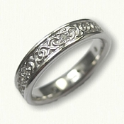 14kt White Gold Celtic Dara Knot Wedding Band - narrow with 7 diamonds
