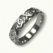 Platinum Dara Knot Wedding Band - sculpted -   4.0 mm width