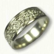 Celtic Dara Knot with Shamrock Wedding Band- 14kt Green Gold