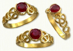 14kt Yellow Dara Knot Bezel Set with a Round Ruby