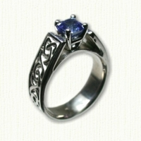 14KW Celtic Dara Engagement ring with Blue Sapphire